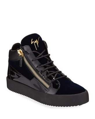 Giuseppe Zanotti Men's Velvet & Patent Leather Mid-Top Sneakers