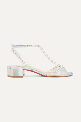Christian Louboutin Faridaravie 25 Embellished Pvc And Iridescent Leather Sandals - Silver
