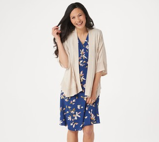 Halston H By H by Open Front Angled Hem Kimono with Crochet Detail