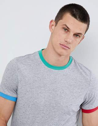 Asos DESIGN t-shirt in textured fabric with contrast neck and cuff in gray