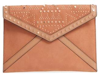 Rebecca Minkoff Leo Studded Leather & Suede Clutch