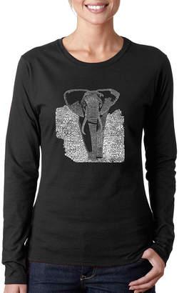 LOS ANGELES POP ART Los Angeles Pop Art Elephant Long Sleeve Graphic T-Shirt