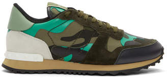 Valentino Green and Black Garavani Camo Rockrunner Sneakers