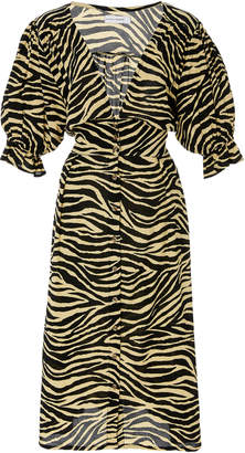 Faithfull The Brand Rafa Printed Crepe Midi Dress Size: XS