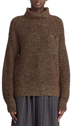 Ralph Lauren 50th Anniversary Turtleneck Cashmere/Linen Mouline Sweater w/ Suede Elbow Patch