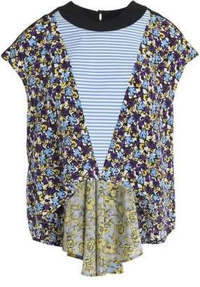 MSGM Cropped Striped-Paneled Floral-Print Silk-Georgette Top