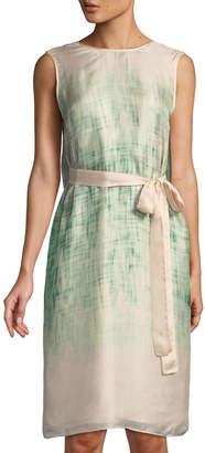 Leon Max Tie-Waist Printed Chiffon Dress