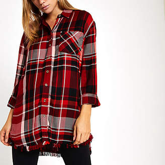 River Island Red oversized check print tie front shirt
