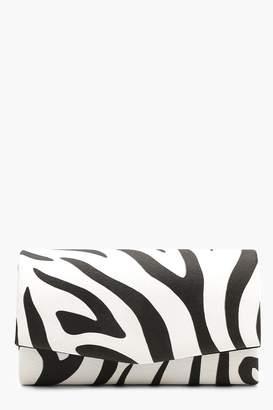 boohoo Structured Zebra Clutch With Chain