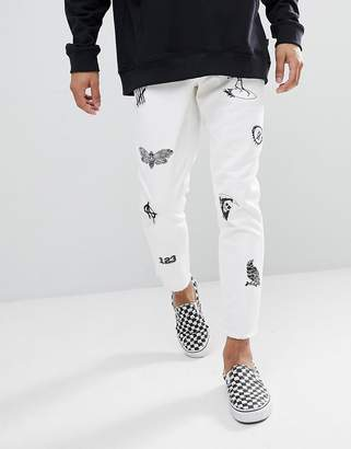 Asos Slim Jeans In White With Prints And Patches