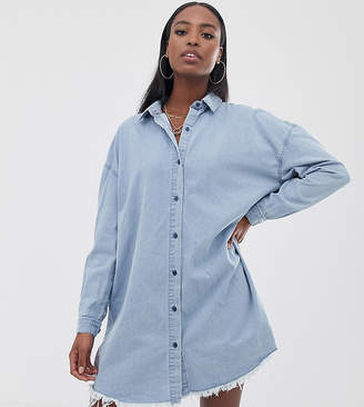 1ec94fc529 Missguided Tall oversized denim shirt dress in blue