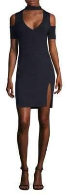BCBGMAXAZRIA Ribbed Cold Shoulder Dress