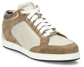 Jimmy Choo Miami Suede& Glitter Sneakers