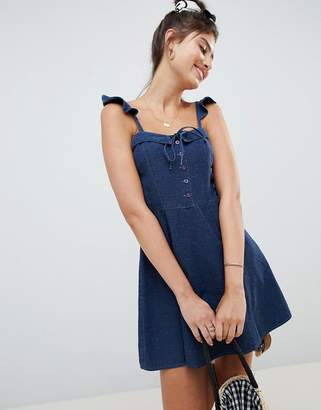 Asos Design DESIGN denim mini dress with frill strap detail