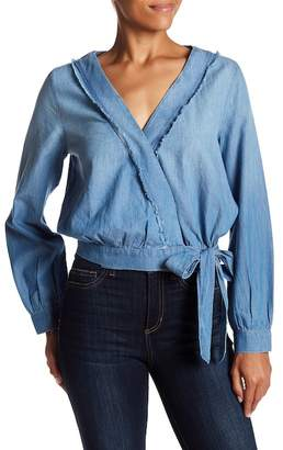 Melrose and Market V-Neck Tie Front Chambray Top (Regular & Petite)