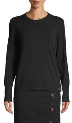 Donna Karan Horn-Button Sweater