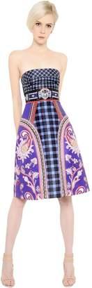 Mary Katrantzou Strapless Printed Twill Dress
