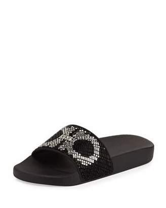 Salvatore Ferragamo Groove Gancini Flat Slide Sandal, Black/White $525 thestylecure.com
