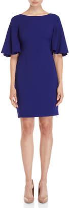 Eliza J Royal Blue Flounce Sleeve Sheath Dress