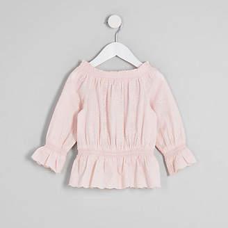 River Island Mini girls pink broderie bardot top