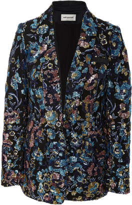 Self-Portrait Self Portrait Floral-Print Sequin-Embellished Blazer