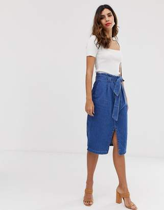 Vero Moda denim midi skirt with tie waist