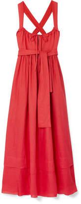 Three Graces London - Joan Ruffled Tiered Linen Maxi Dress - Crimson