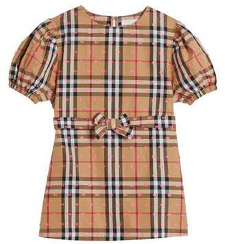 Burberry Check Puffy-Sleeve Dress w/ Fil Coupe Detail, Size 4-14