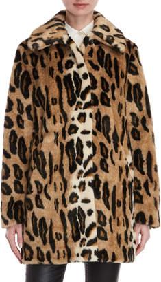Kensie Leopard Faux Fur Reversible Coat
