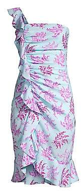 LIKELY Women's Lois Floral One-Shoulder Ruffled Dress