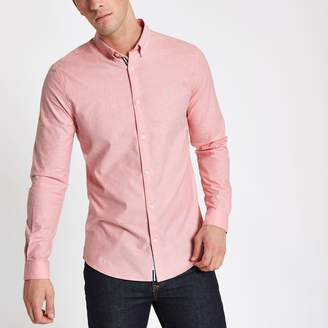 River Island Mens Pink muscle fit embroidered Oxford shirt