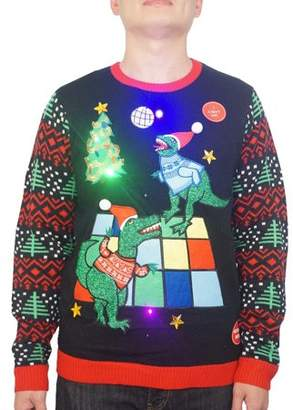 Holiday Men's Light Up Dinosaur Dance Party Ugly Christmas Sweater, Up to size 2XL