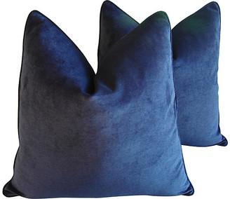 One Kings Lane Vintage Midnight Blue Velvet Pillows - Set of 2