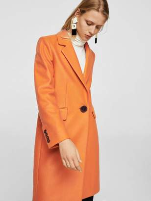 MANGO Structured Wool Coat - Orange
