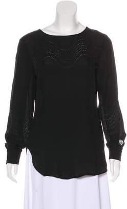 Halston Long Sleeve Silk Blouse