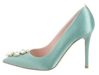 Sarah Jessica Parker Satin Jewel-Embellished Pumps