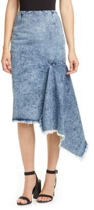 Balenciaga Asymmetrical Godet Acid Wash Denim Skirt