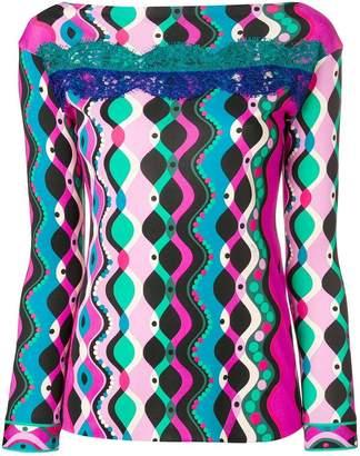 Emilio Pucci lace insert printed top