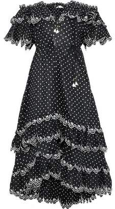 926266564407 Zimmermann Jaya Scallop Off-the-shoulder Swiss-dot Linen Midi Dress
