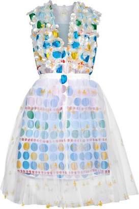 DELPOZO Layered Embellished Jacquard And Tulle Mini Dress