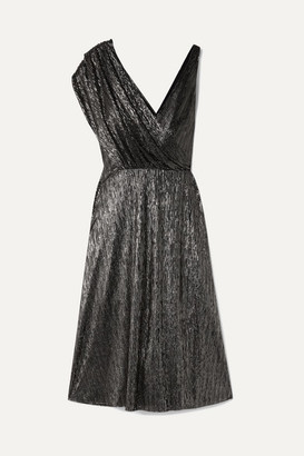 Alice + Olivia Alice Olivia - Roxy Wrap-effect Draped Lurex Dress - Black