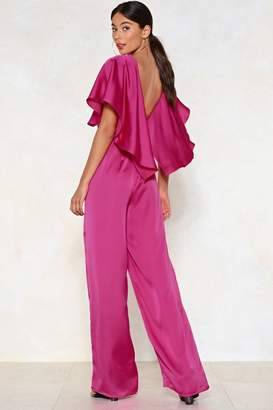 Nasty Gal Cape On Dancing Satin Jumpsuit