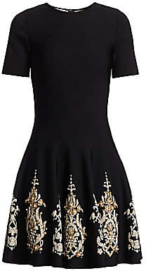 Oscar de la Renta Women's Embroidered Hem Fit-&-Flare Dress