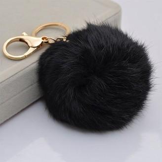 Unbranded Rabbit Faux Fur Pom Pom Charm Keychain - Black