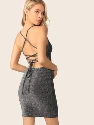 Shein Crisscross Tie Back Glitter Bodycon Cami Dress