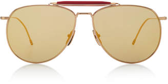 Thom Browne Sun Oversized Gold-Tone Aviator Sunglasses