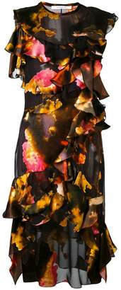 Givenchy cloud print ruffle dress