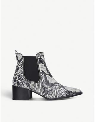 Carvela Spire studded snakeskin-embossed ankle boots