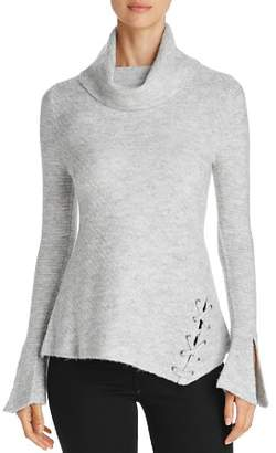 Heather B Cowl Neck Lace-Up Turtleneck Sweater
