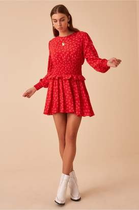 Finders Keepers FRIDA LONG SLEEVE DRESS red ditsy doo